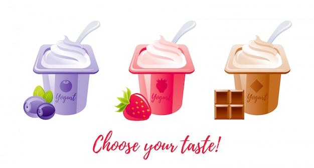 Milchfruchtjoghurt mit brombeere, erdbeere, schokolade. Premium Vektoren