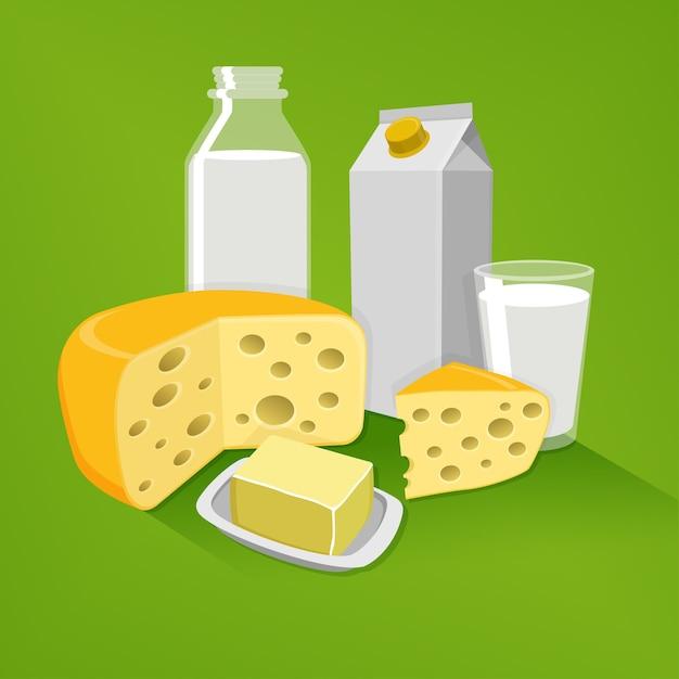 Milchprodukte auf einem grünen hintergrund Premium Vektoren
