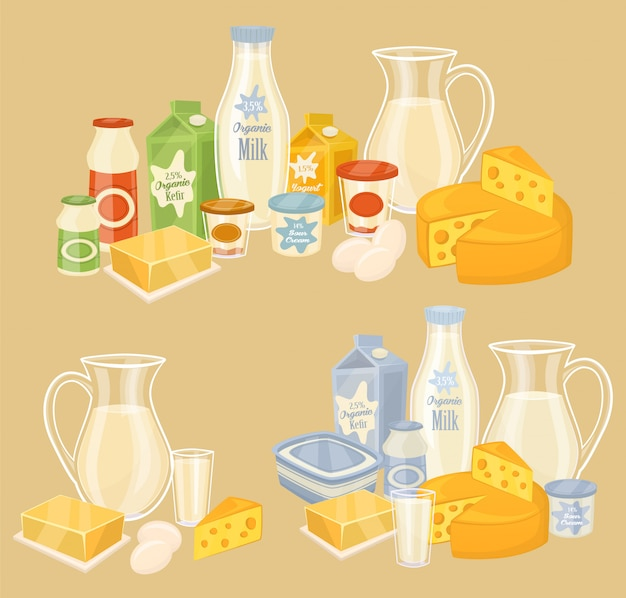 Milchprodukte auf holztisch, milch, ikone Premium Vektoren