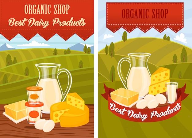 Milchprodukte auf holztisch Premium Vektoren