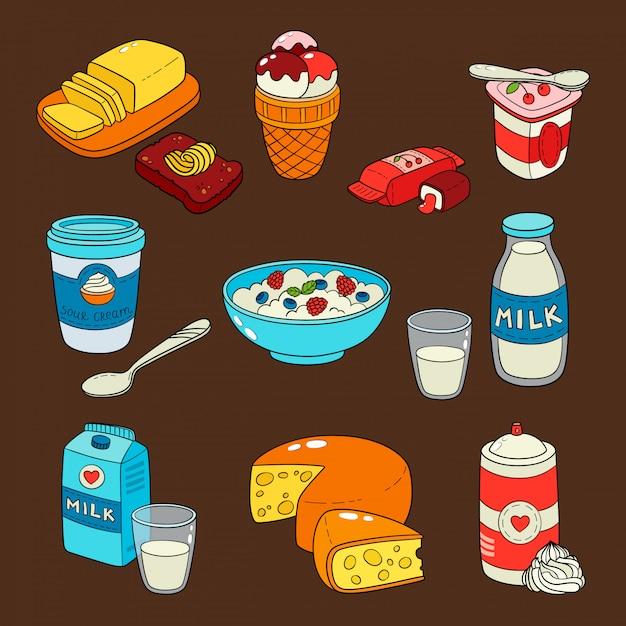 Milchprodukte isoliert icons. Premium Vektoren