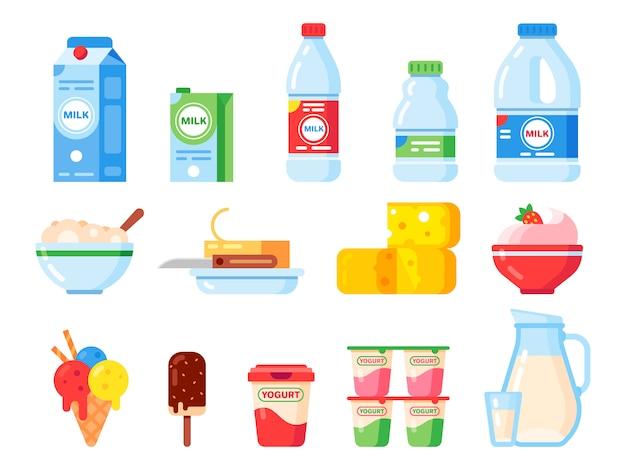 Milchprodukte. joghurt, eis und milchkäse für gesunde ernährung. frisches milchprodukt lokalisierte flache ikonensammlung Premium Vektoren
