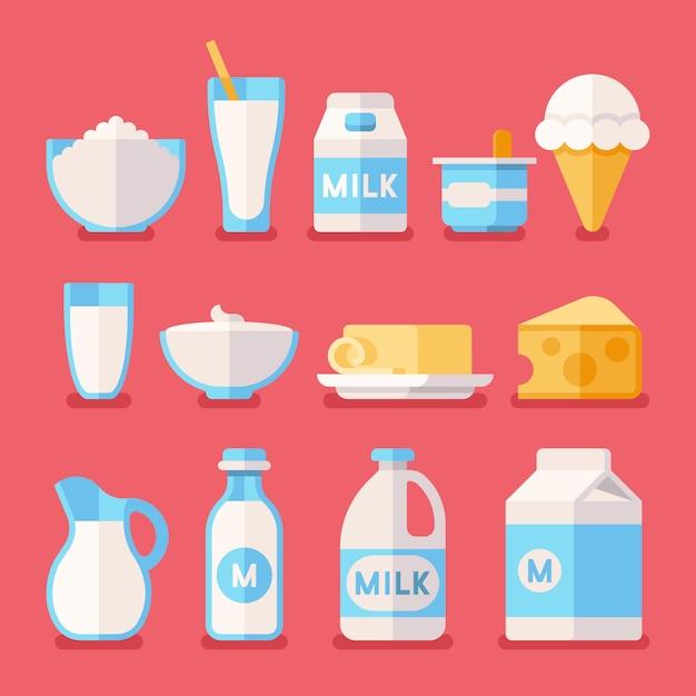 Milchprodukte, milch, joghurt, sahne, käseprodukte Premium Vektoren