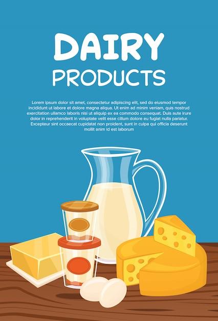 Milchprodukte plakat vorlage Premium Vektoren