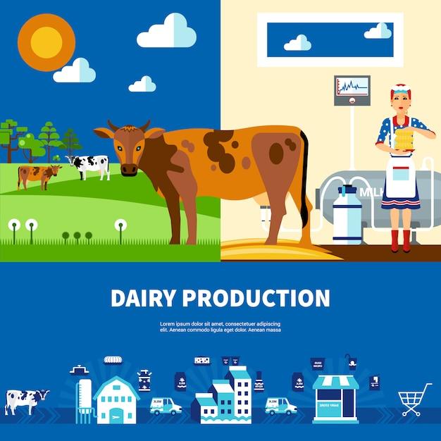 Milchproduktionsset Kostenlosen Vektoren