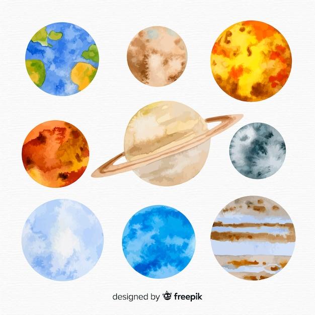 Milchstraßengalaxie mit planeten Kostenlosen Vektoren