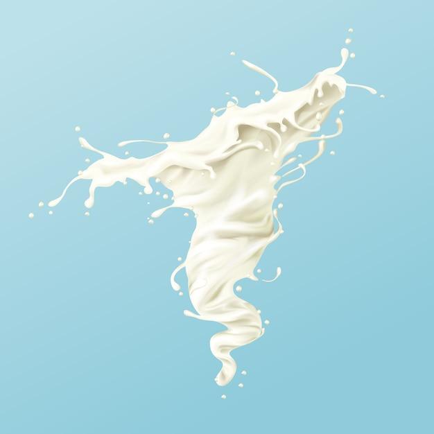 Milchwirbel oder weißer farbspritzer oder whirlpool mit tröpfchen und spritzern Kostenlosen Vektoren