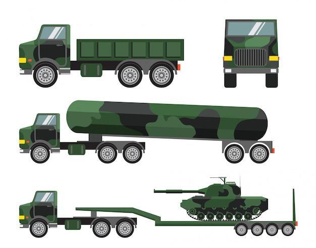 Militär-lkw und panzer-set Premium Vektoren