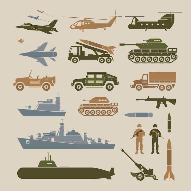 Militärarmeefahrzeuge objektillustrationssatz, seitenansicht Premium Vektoren