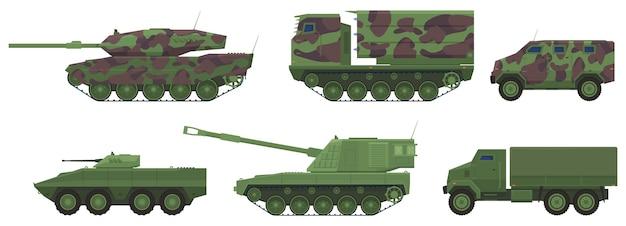 Militärausrüstung, panzer, artillerie, lastwagen, gepanzerte personaltransporter Premium Vektoren
