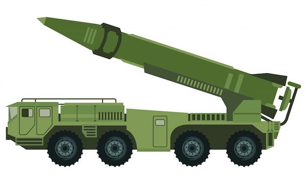 Militärfahrzeug mit raketenwerferauto Premium Vektoren