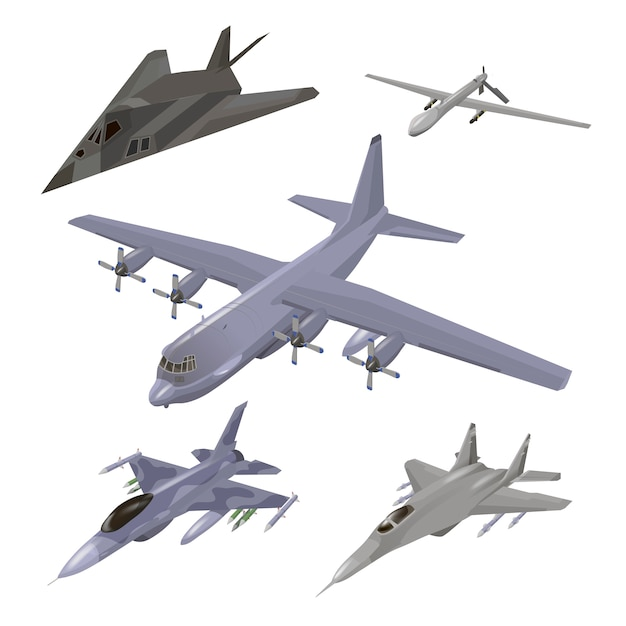 Militärflugzeug eingestellt. kampfflugzeug, f-117 nighthawk, abfangjäger, frachtflugzeug, spionagedrohnenillustrationen isoliert. Premium Vektoren