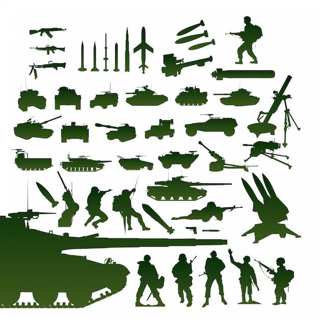 Militärische elemente eingestellt Premium Vektoren