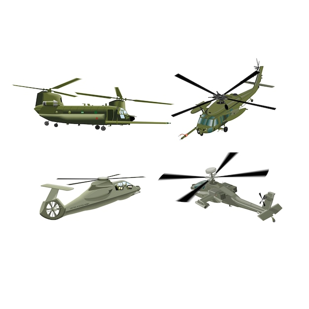 Militärische hubschrauberarmee militärflugzeuge Premium Vektoren