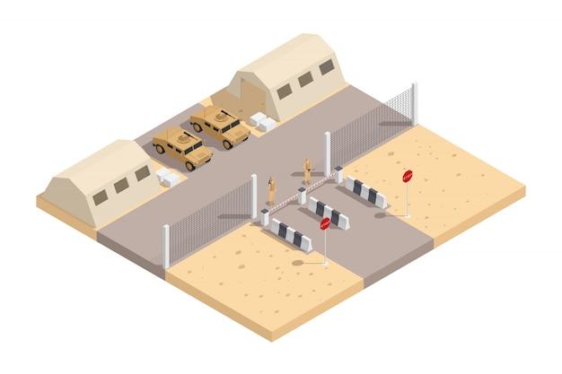 Militärische isometrische zusammensetzung mit bewachtem militärstützpunkt und mit der notwendigen ausrüstungsvektorillustration Kostenlosen Vektoren