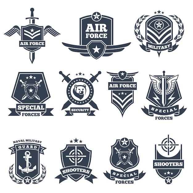 Militärische logos und abzeichen. armeesymbole isoliert Premium Vektoren