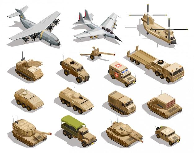 Militärische transport isometrische icon-set Kostenlosen Vektoren