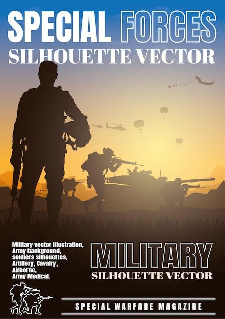 Militärische vektorillustration, armeehintergrund, buchumschlagentwurf. Premium Vektoren