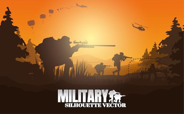 Militärische vektorillustration, armeehintergrund. Premium Vektoren
