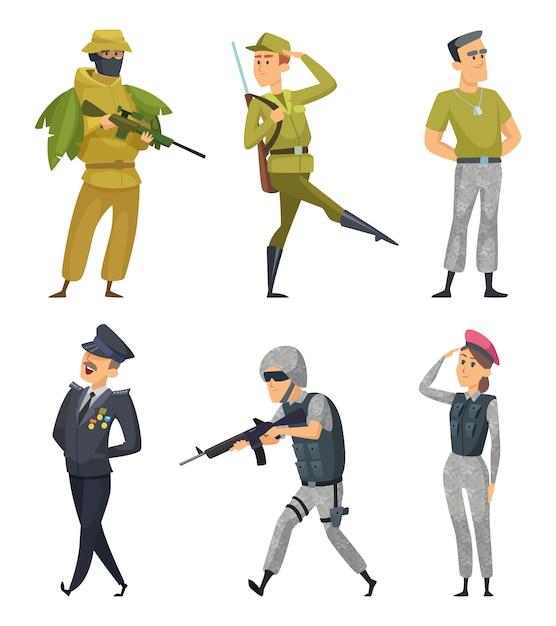 Militärische zeichen festgelegt Premium Vektoren