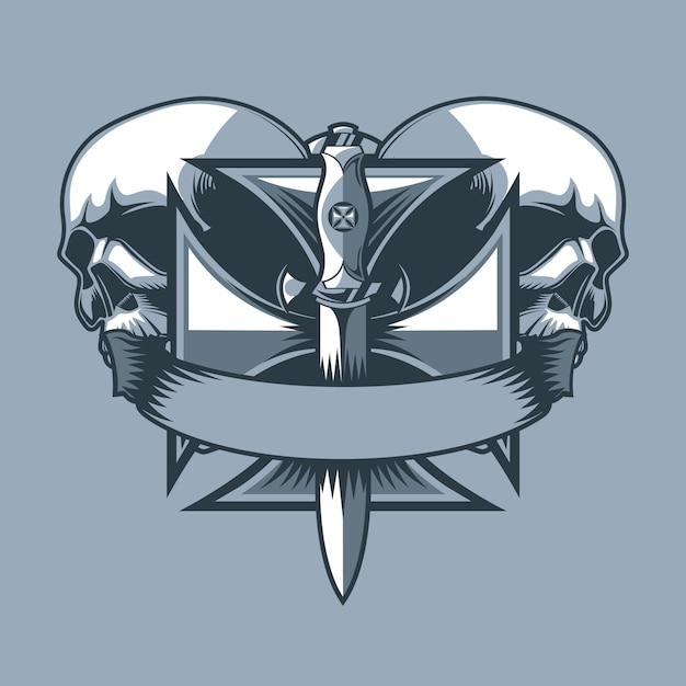 Militärischer dolch auf einem ritterkreuz. monochrome tattoo-stil. Premium Vektoren