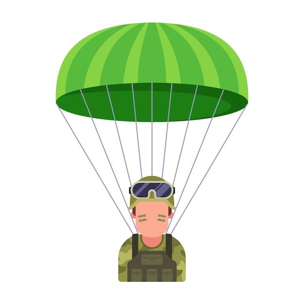 Militärischer fallschirmspringer steigt vom himmel auf dem schlachtfeld herab. Premium Vektoren