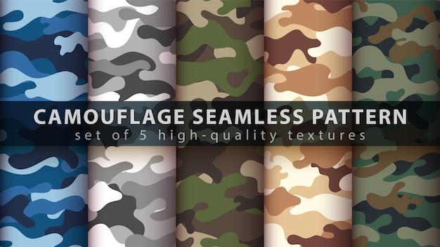 Militärisches nahtloses muster der tarnung Premium Vektoren