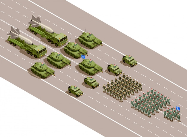 Militärparade isometrische zusammensetzung Kostenlosen Vektoren