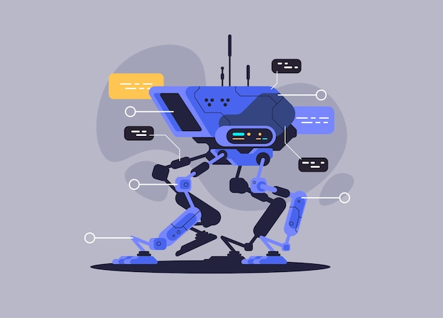 Militärroboter hund. moderne zukunftstechnologie. vektor-illustration Premium Vektoren