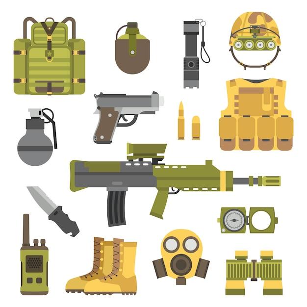 Militärwaffe schießt symbolvektorillustration Premium Vektoren