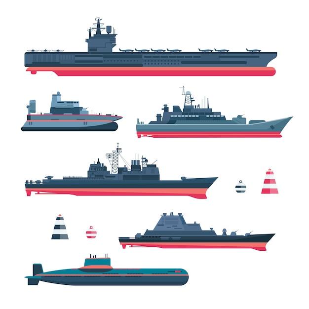 Militaristische schiffe gesetzt. marinemunition, kriegsschiff und u-boot, nukleares schlachtschiff, schwimmer und kreuzer, trawler und kanonenboot, fregatte und fähre Kostenlosen Vektoren
