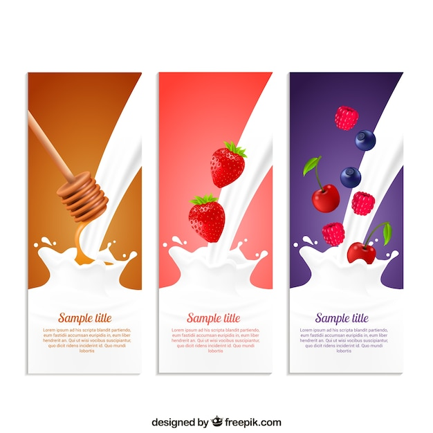Milkshakes sammlung Kostenlosen Vektoren