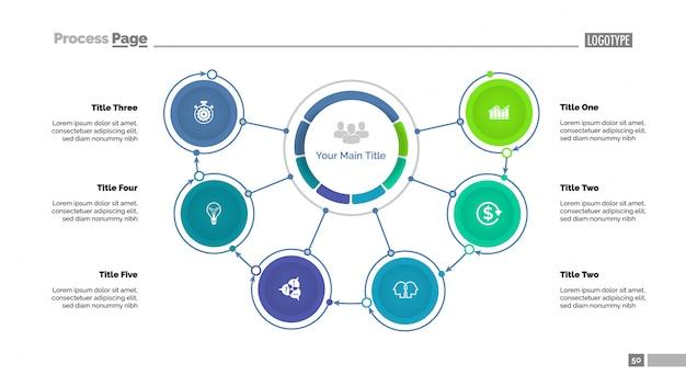 Mindmap-diagramm mit sechs optionen vorlage Premium Vektoren