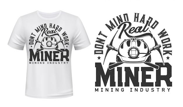 Miner t-shirt-druckmodell, kohlebergbauindustrie Premium Vektoren
