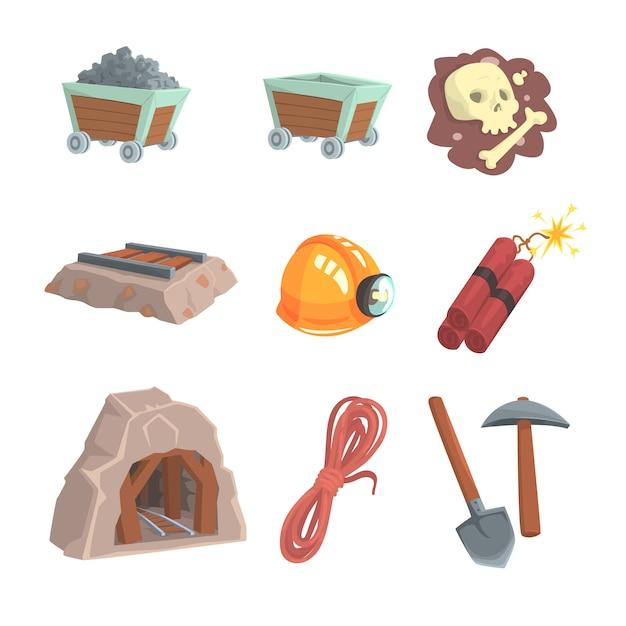 Mineralbergbau, kohleindustrie eingestellt für. bunte karikatur detaillierte illustrationen Premium Vektoren