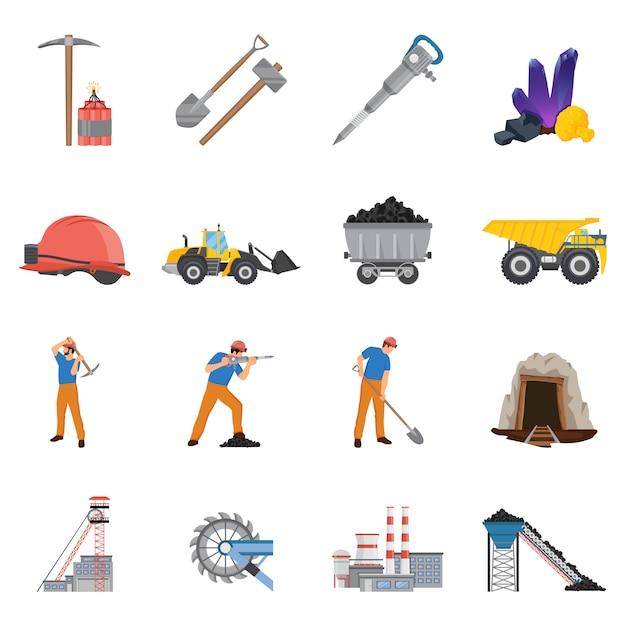 Minerals mining elementsatz Kostenlosen Vektoren