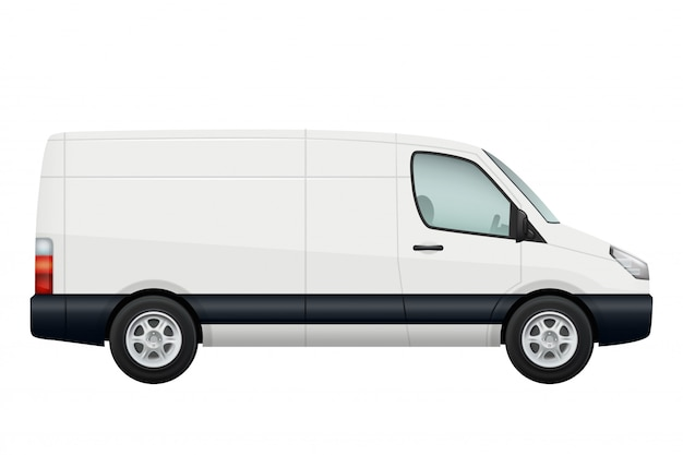 Mini van auto. seitenansicht des weißen minivans lokalisiert auf weiß Premium Vektoren