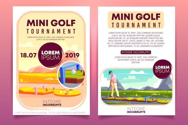 Minigolf-turnierkarikatur-promobroschüre, einladungsfliegerschablone. Kostenlosen Vektoren