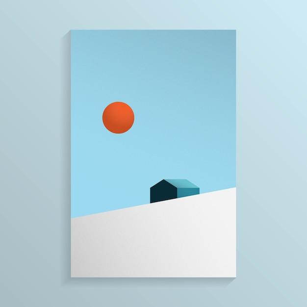 Minimale ansicht des hauses auf dem schneegebirgshügel mit der sonne im himmel Premium Vektoren
