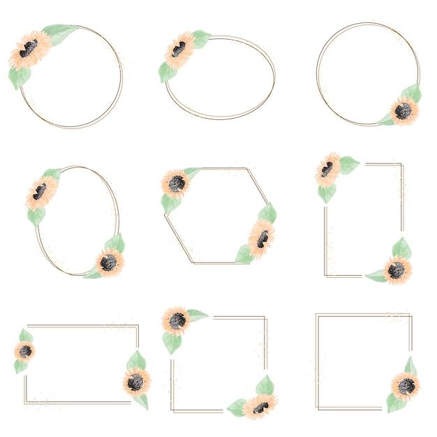 Minimale aquarellgelbe sonnenblumenkranz-rahmenkollektion Premium Vektoren