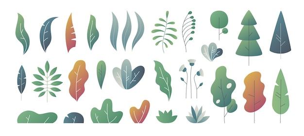 Minimale blätter. fantasie färbt abstufung, verlässt büsche und baumschablonen, naturgradientenpflanzen. süße herbstblätter Premium Vektoren