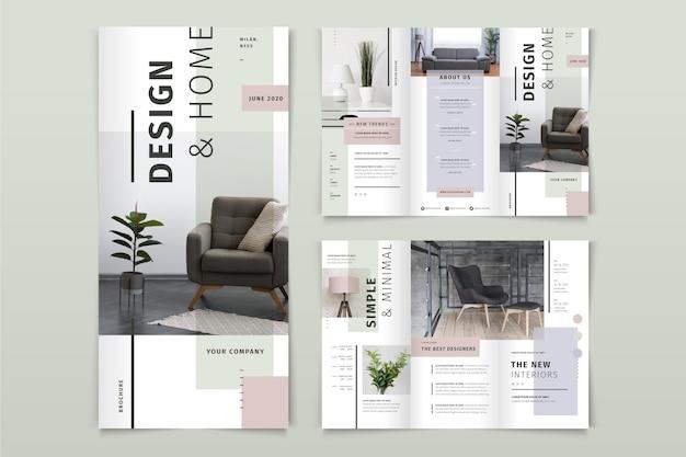 Minimale dreifach gefaltete broschüre mit foto Kostenlosen Vektoren