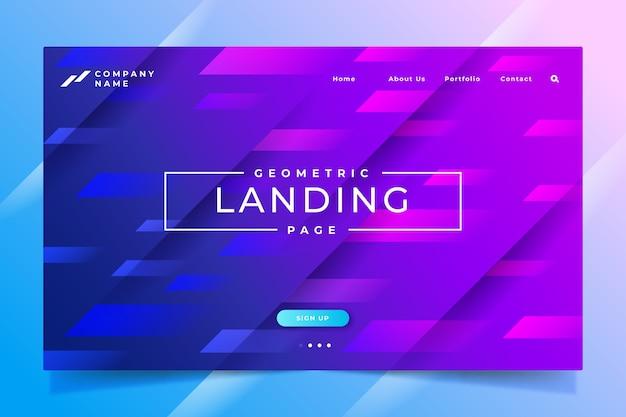Minimale geometrische landingpage-vorlage Kostenlosen Vektoren