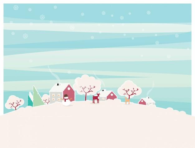 Minimale illustration der städtischen stadtlandschaft im winter. Premium Vektoren