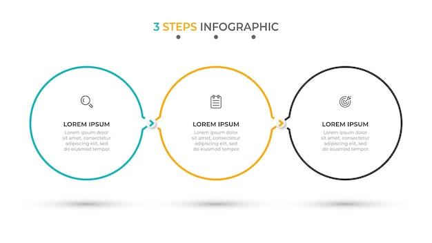 Minimale infografik-vorlage 3 optionen oder schritte Premium Vektoren