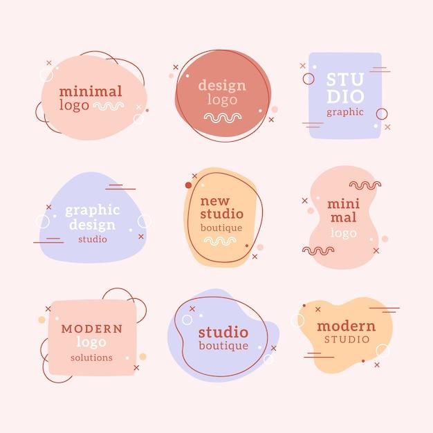 Minimale logosammlung der pastellfarben Kostenlosen Vektoren