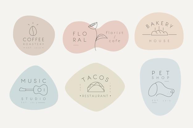Minimale logosammlung mit pastellfarben Kostenlosen Vektoren