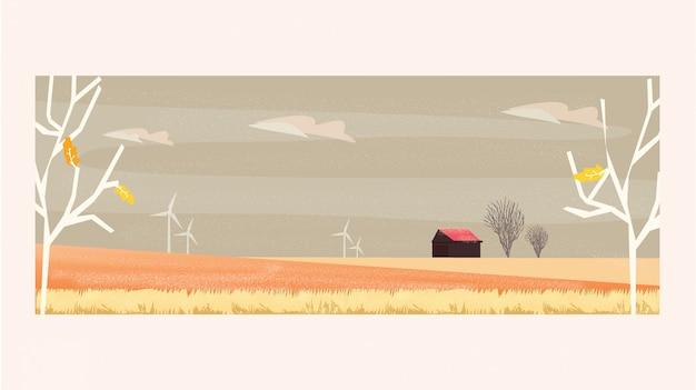 Minimale panoramaillustration der landschaftslandschaft im herbst mit bauernhof Premium Vektoren