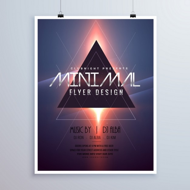 Minimale raumthema flyer template-design mit glänzend lichteffekt Kostenlosen Vektoren