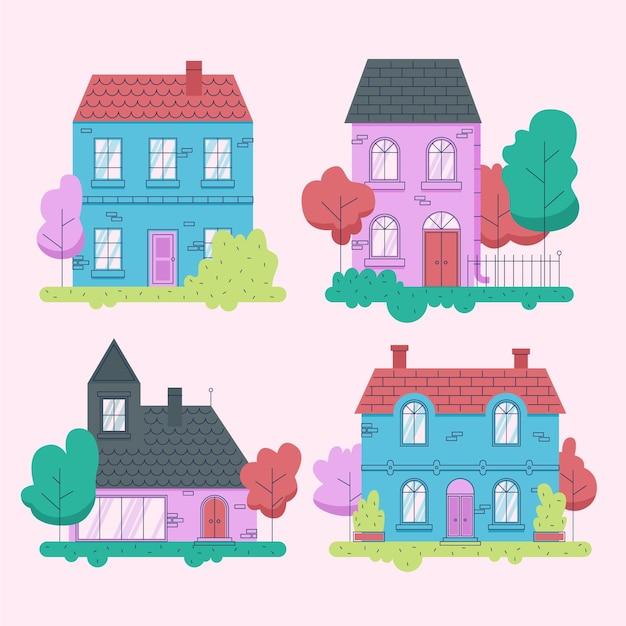 Minimale sammlung verschiedener häuser Kostenlosen Vektoren